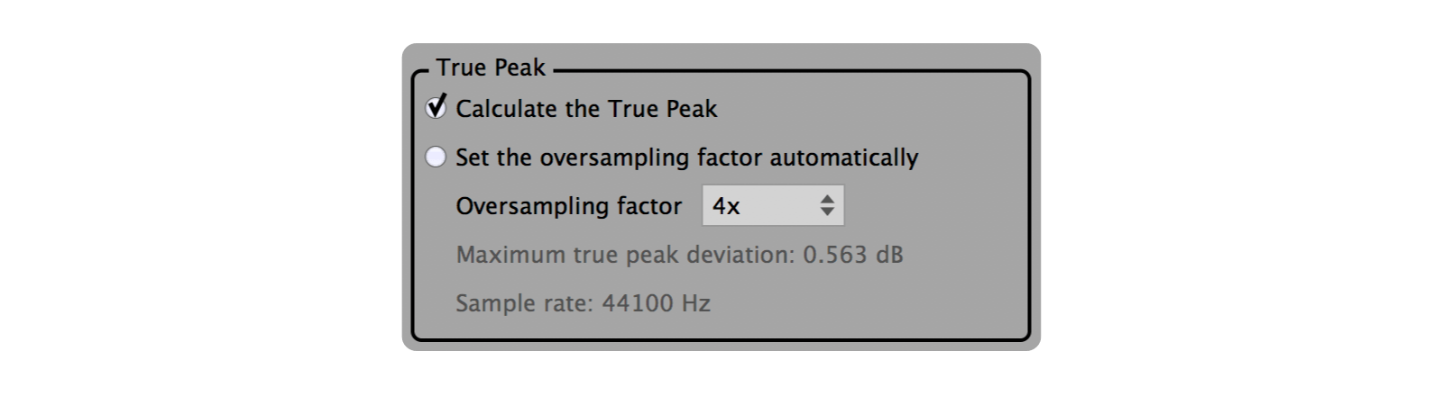 True peak settings.