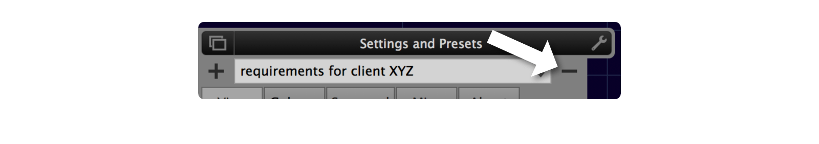 Preset delete button